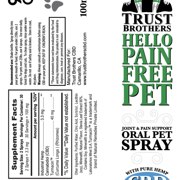 CBD Pet Joint & Pain Oral Spray 100mg
