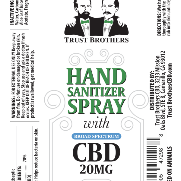 Hand Sanitizer Spray 20mg CBD – 2 Pack
